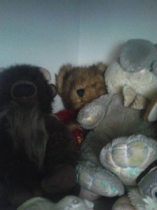 In honor of the 110th birthday of the Teddy Bear, I took this photo of my Teddy Bear, with my husband's Bugs, and Buffalo Bill (My Great-Uncle's).