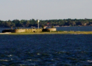 I took this photo when my husband and I were on a dinner cruise last week. This is Castle Pickney, I call it the 'Forgotten Fort'.