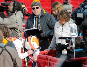 The Woman in the White Jacket was the Interviewer.  Credit: Google Image Search